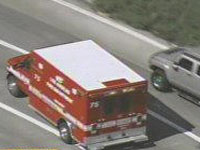 Stolen ambulance on Los Angeles freeway.