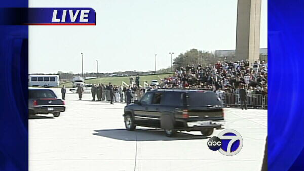 The crowd, singing 'Happy Birthday,' cheers as the pope's limo and motorcade drive away.