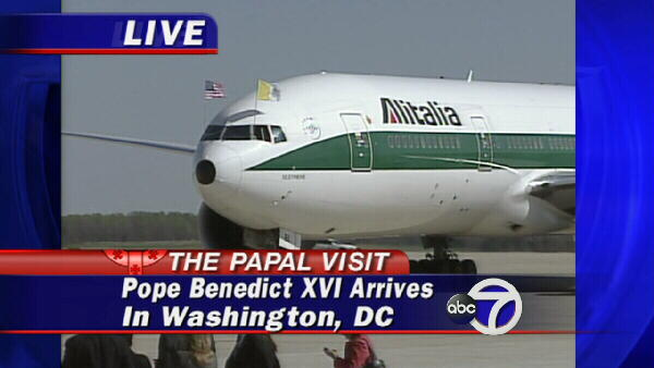 The pope's plane pulls up to the unloading area.