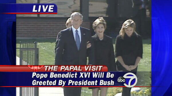 President Bush and the First Family walk to greet the pope.