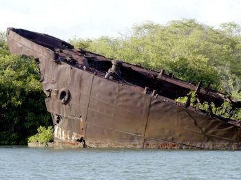 One of the destroyed U.S. ships that still sits in Pearl Harbor.