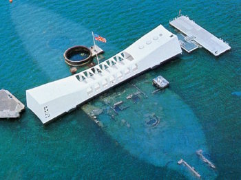 An aerial view above the U.S.S. Arizona Memorial.