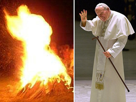 &#40;Left&#41; The apparition in flames at a bon fire that many say is Pope John Paul II. The fire was set as part of a ceremony to mark the 2nd anniversary of John Paul II&#39;s death near his birthplace in Poland. <span class=meta>(No source provided)</span>