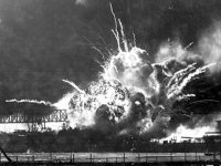 An explosion during the 1941 attack on Pearl Harbor.